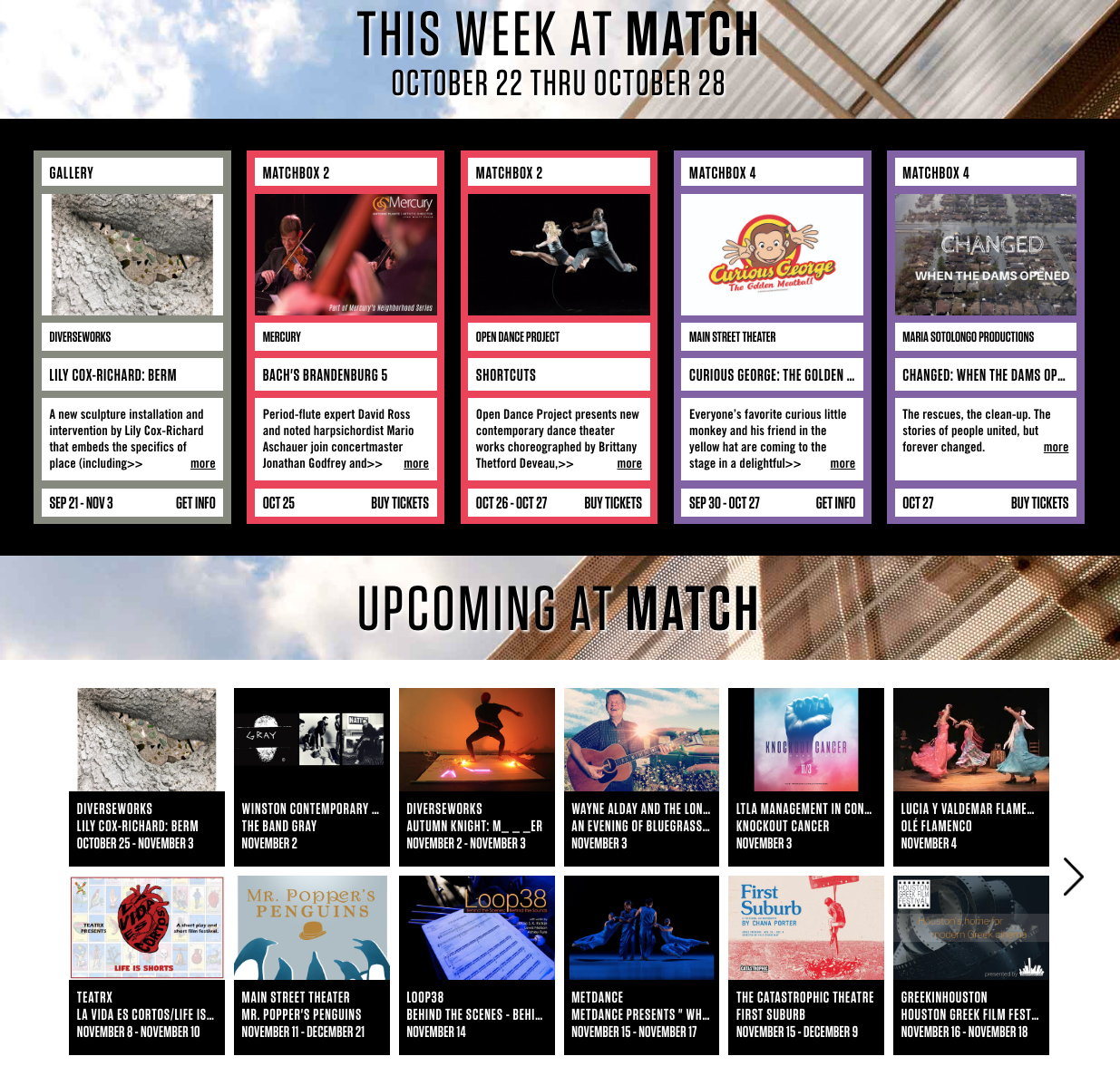 MATCH Homepage Events
