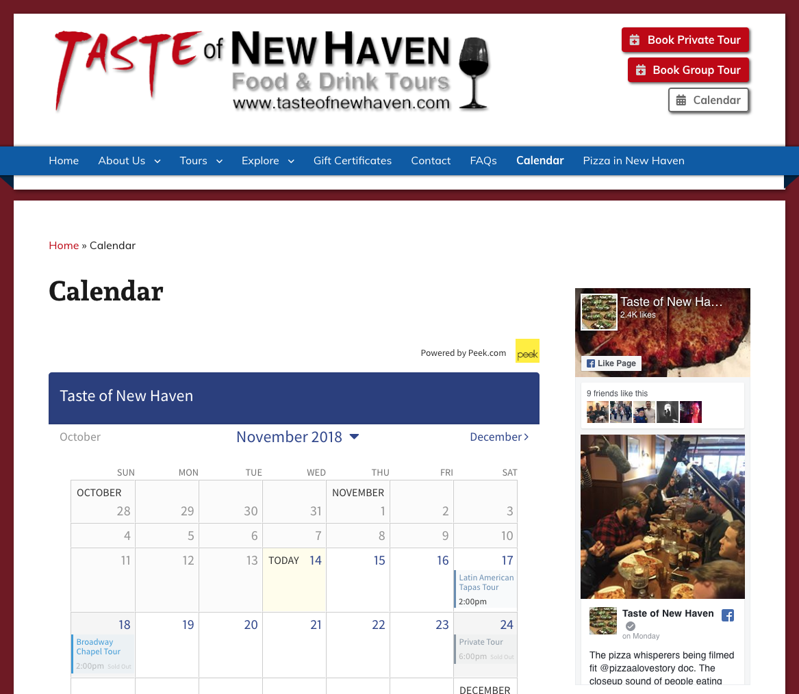 Taste of New Haven Calendar